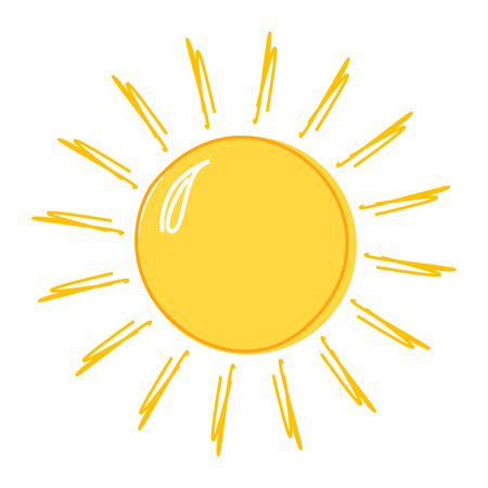 Illustration for Doodle sun drawing icon. Vector illustration - Royalty Free Image