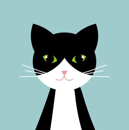 Illustration pour Black and white cat portrait. Vector illustration - image libre de droit