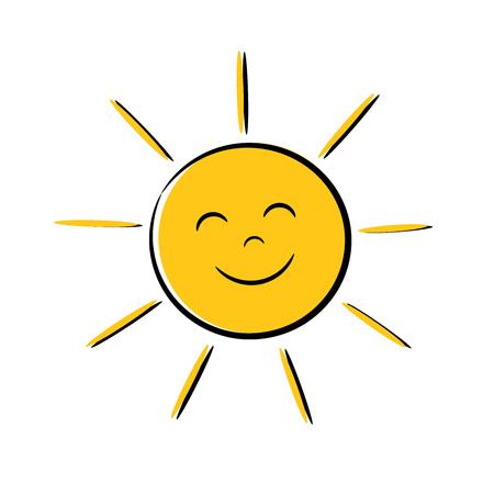 Ilustración de Happy sun icon with smile. Vector illustration - Imagen libre de derechos