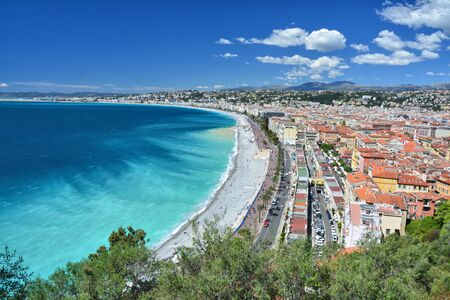 Photo for Nice, French Riviera Cote d'Azur in Provence, France. Landscape view of city and coastline. - Royalty Free Image