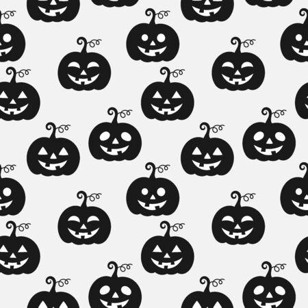 Illustration pour Black and white halloween pumpkins seamless pattern. Vector illustration - image libre de droit