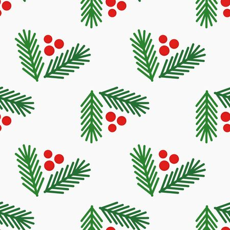 Illustration pour Christmas tree fir branches and berries simple seamless pattern on white background. Vector illustration. - image libre de droit