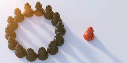 Photo pour Leadership concept, red pawn of chess, standing out from the crowd of blacks - image libre de droit