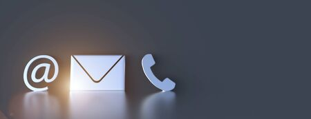 Photo for Contact icons leaning against a wall for hotline and service concept - Royalty Free Image