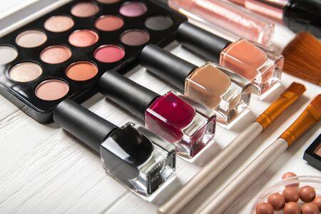 Photo for Nail polish and decorative cosmetics, close-up. - Royalty Free Image