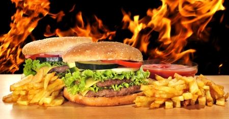 Menú a base de hamburguesas.