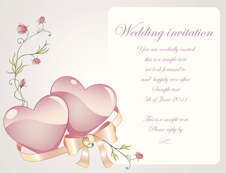 Romantic background with rose branch, glossy hearts and silk bow