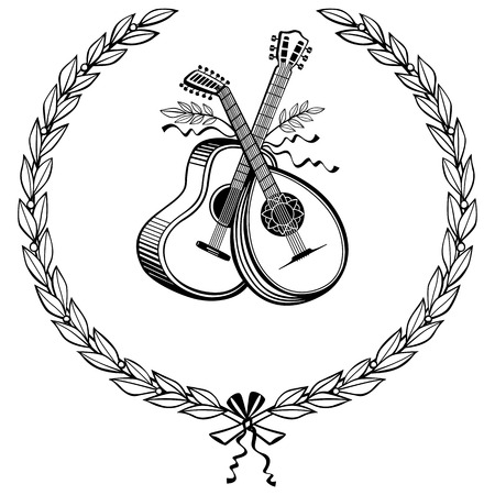 Laurel wreath with guitar and lute