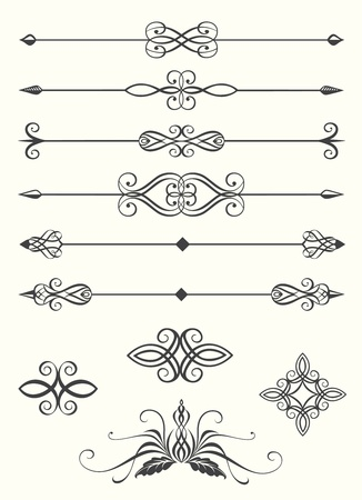Collection of line dividers and calligraphic emblems
