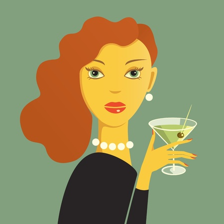 Reda haired woman with dry martini