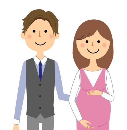 Illustration for Young couple, Pregnant woman - Royalty Free Image