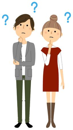 Illustration for Young couple, Question - Royalty Free Image