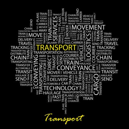 TRANSPORT. Word collage on black background.