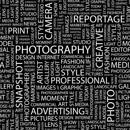 PHOTOGRAPHY. Seamless pattern with word cloud.