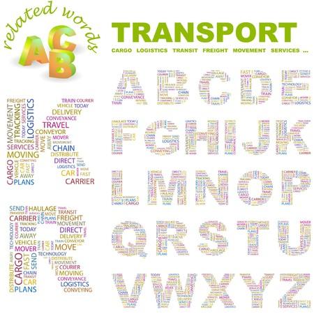 TRANSPORT.  letter collection. Word cloud illustration.