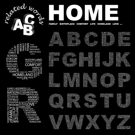 HOME.  letter collection. Word cloud illustration.