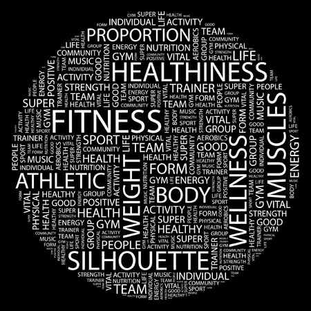 FITNESS. Word collage on black background. Vector illustration.   のイラスト素材