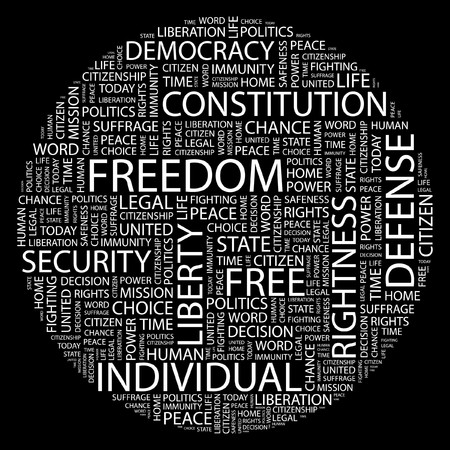 FREEDOM. Word collage on black background.