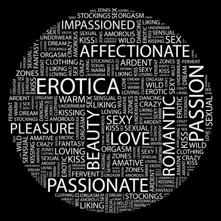 EROTICA. Word collage on black background.