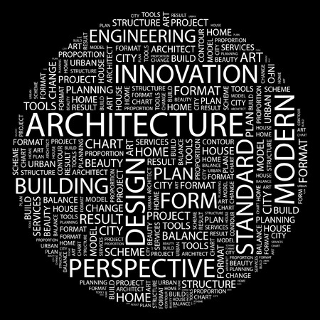ARCHITECTURE. Word collage on black background.