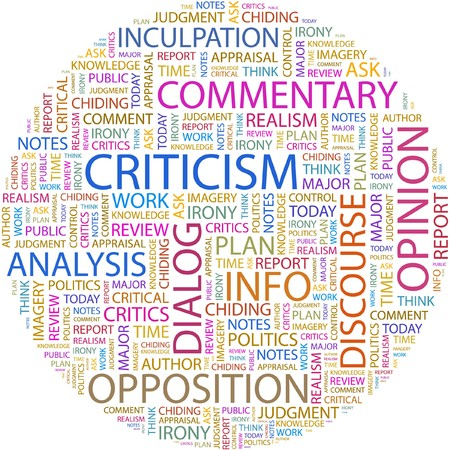CRITICISM. Word collage on white background.