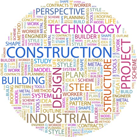 CONSTRUCTION. Word collage on white background.