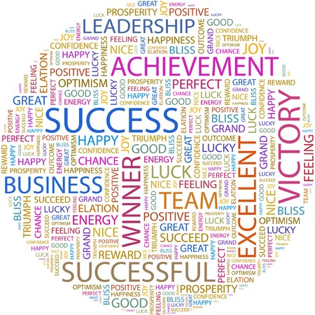 SUCCESS. Word collage on white background.