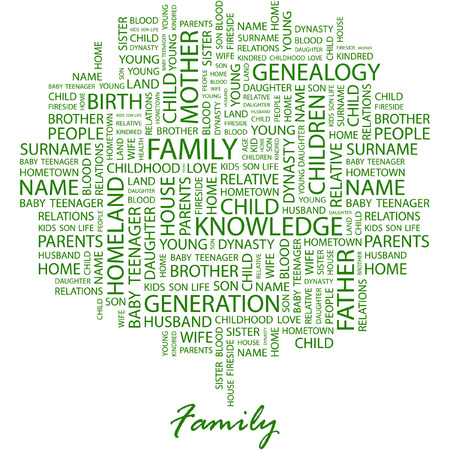 FAMILY. Illustration with different association terms in white background.