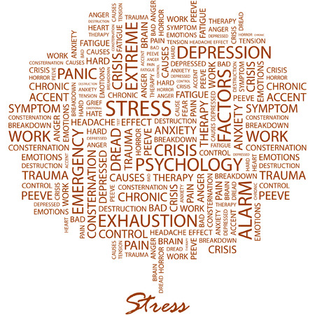 STRESS. Illustration with different association terms in white background.