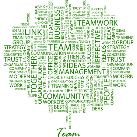 TEAM. Illustration with different association terms in white background.