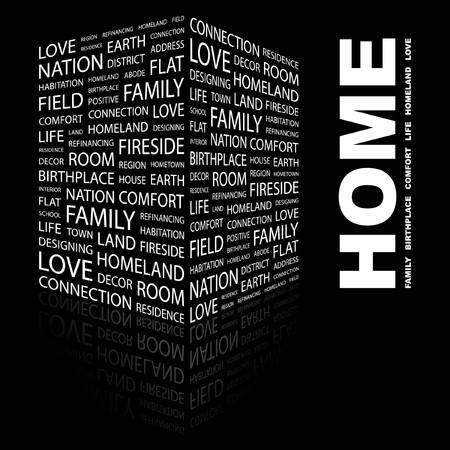 HOME. Word collage on black background. illustration.