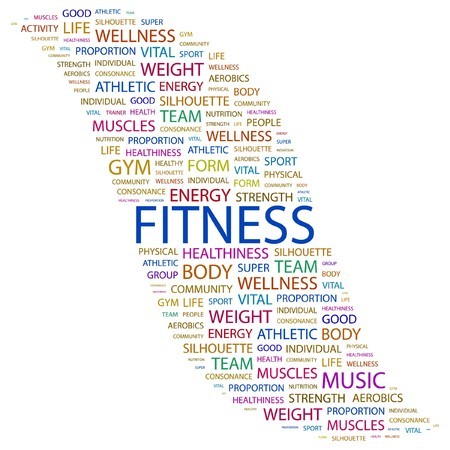 FITNESS. Word collage on white background.  illustration.