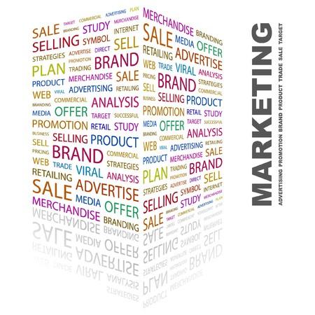 Illustration pour MARKETING. Word collage on white background. illustration.    - image libre de droit