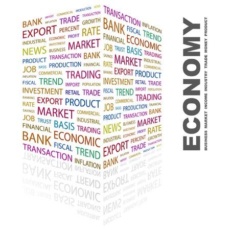 ECONOMY. Word collage on white background. illustration.