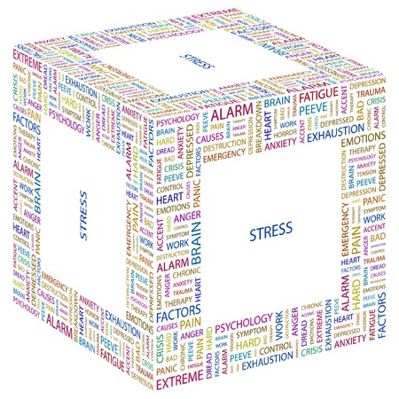 STRESS. Word collage on white background.  illustration.