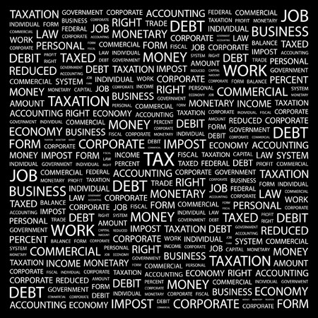 TAX  Word collage on black background : Royalty-free vector graphics