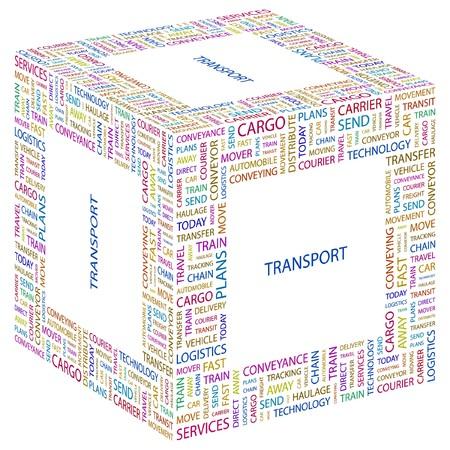 TRANSPORT. Word collage on white background illustration.