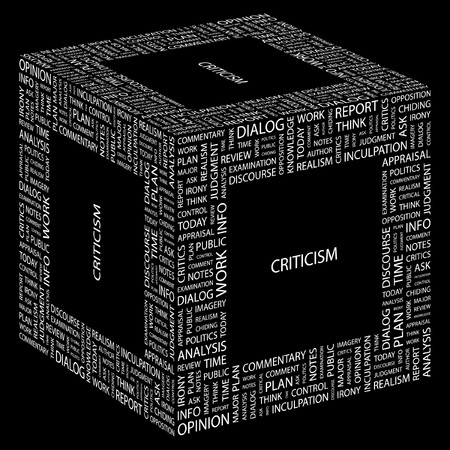 CRITICISM. Word collage on black background.  illustration.