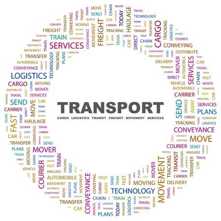 TRANSPORT. Word collage on white background.   illustration.