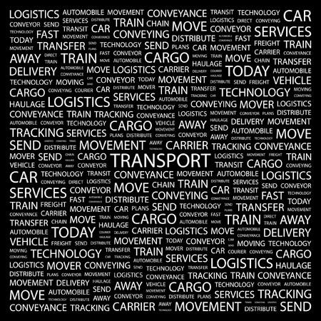 TRANSPORT. Word collage on black background illustration.