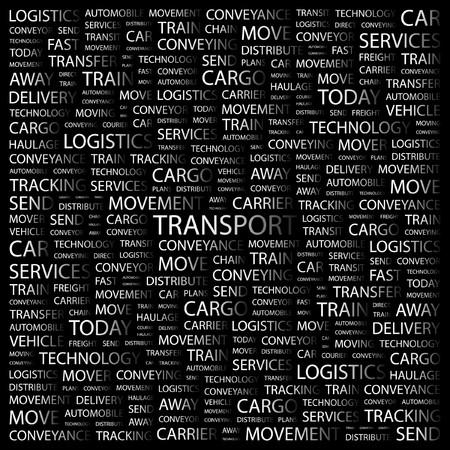 TRANSPORT. Word collage on black background. illustration.