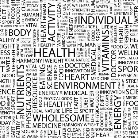 HEALTH. Seamless   pattern with word cloud.