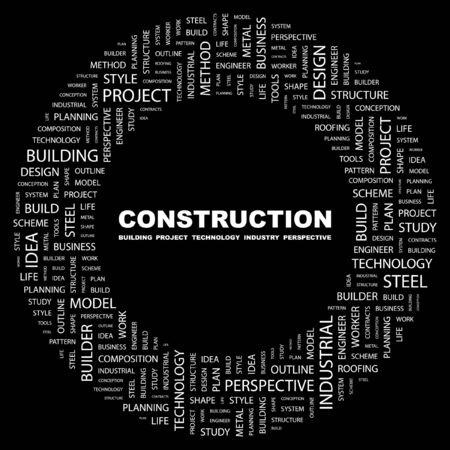 CONSTRUCTION. Word collage on black background. illustration.