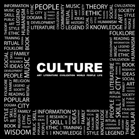 CULTURE. Word collage on black background. Vector illustration.