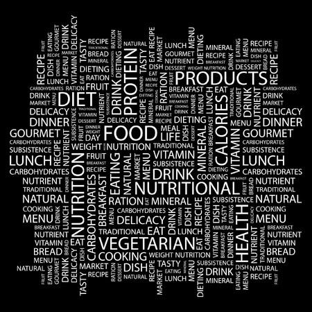 FOOD. Word collage on black background. Vector illustration.