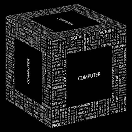 COMPUTER. Word collage on black background. Vector illustration.