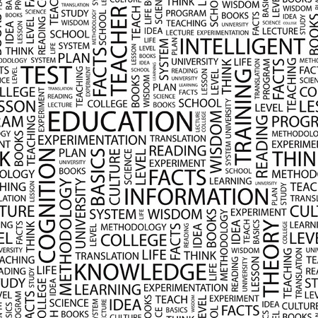 EDUCATION. Seamless vector background. Wordcloud illustration.