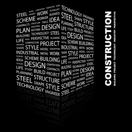 CONSTRUCTION. Word collage on black background. Vector illustration.