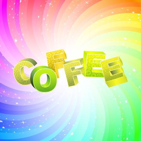 COFFEE. Rainbow 3d illustration.