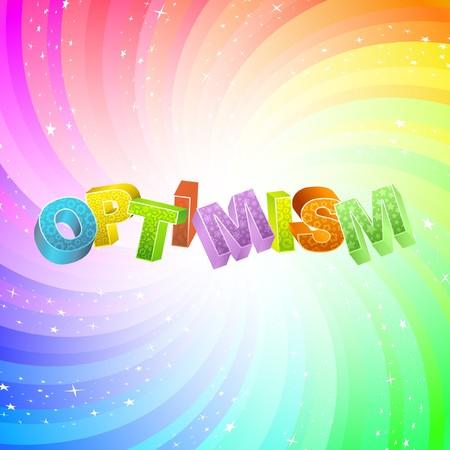 Illustration pour OPTIMISM. Rainbow 3d illustration.   - image libre de droit